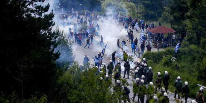 Χημικά στις Πρέσπες εναντίον των διαδηλωτών (vid)