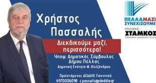 """Πασσαλής Χρήστος, υπ. δημοτικός σύμβουλος με τον Συνδυασμό """"Πέλλα, Μαζί Συνεχίζουμε"""""""